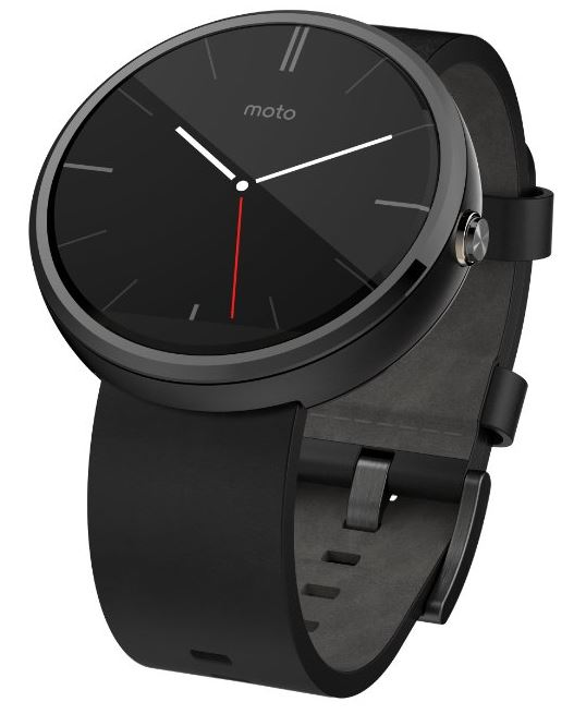 Motorola Moto 360 - Black Leather Smart Watch
