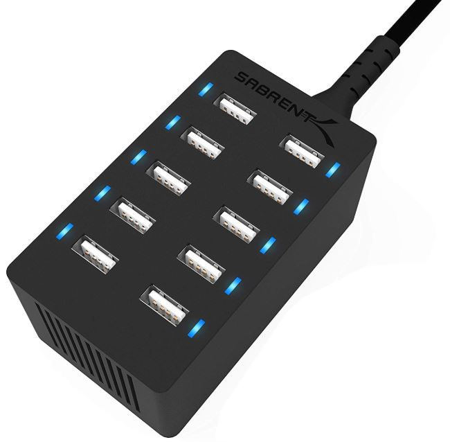 Sabrent 10-Port Family-Sized Desktop USB Rapid Charger