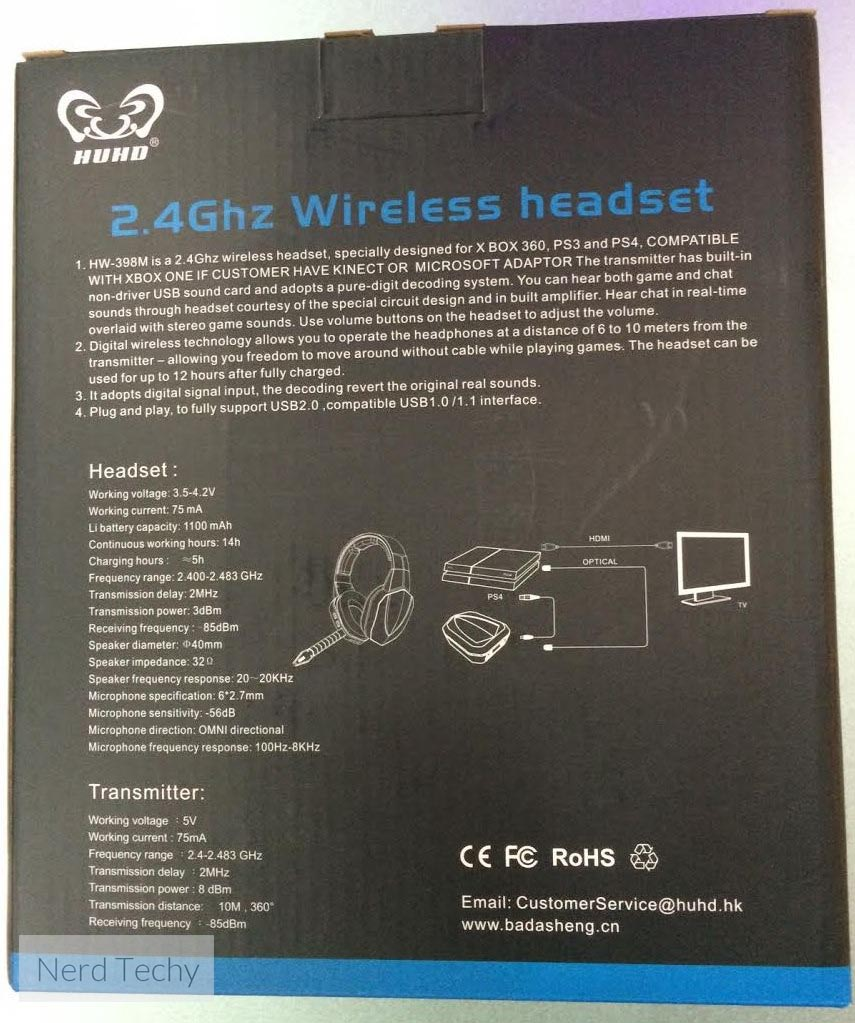 HUHD HW-398M Wireless Gaming Headset box back