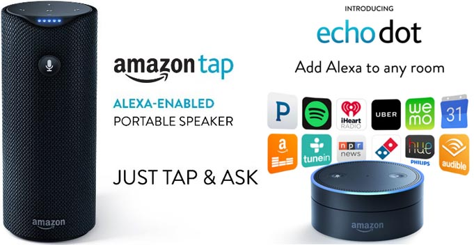 Amazon Echo Tap and Dot