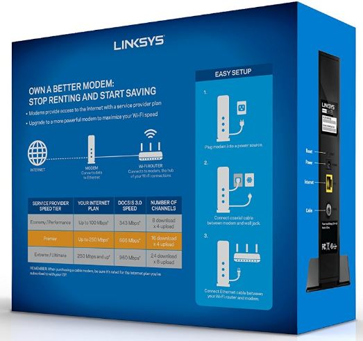 Linksys CM3016 Box Back