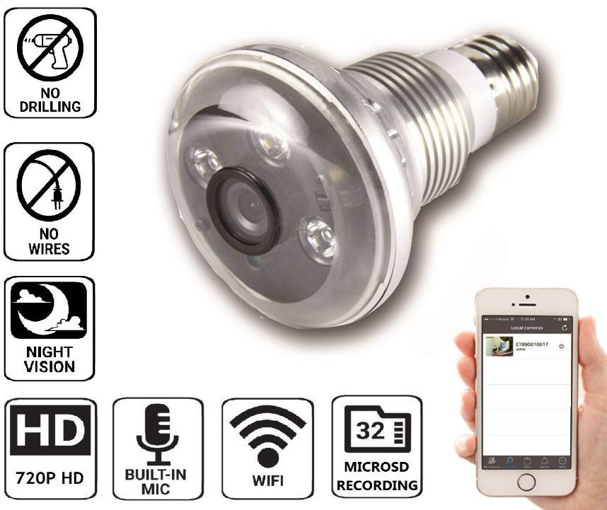 Nucam 720p HD Light Bulb Camera