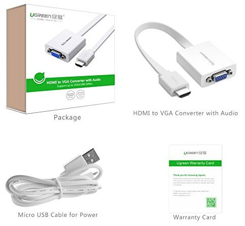 UGREEN Gold Plated HDMI to VGA Video Converter