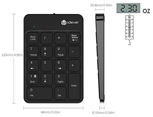 iClever 18-Key Bluetooth Wireless Numeric Keypad