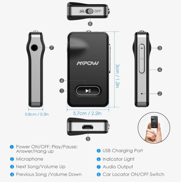 Mpow Bluetooth Receiver with Car Locator