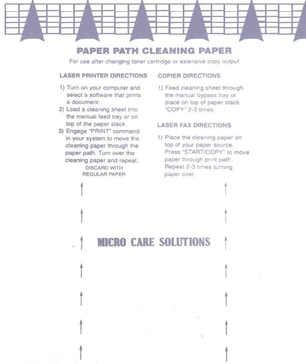 Microcare Laser Printer Cleaning Sheets