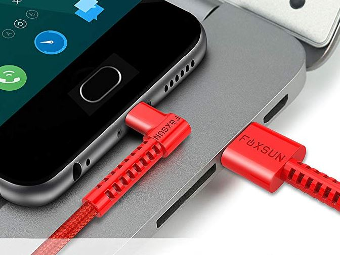 FOXSUN Right Angle 90 Degree Lightning to USB Cable