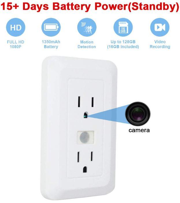 FUVISION Spy Nanny Wireless Outlet Pinhole Camera