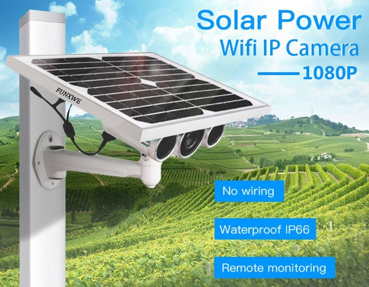 Funxwe 1080P Solar Powered WiFi Security IP Camera