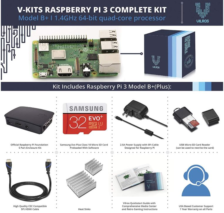 Vilros V-Kits Raspberry Pi 3 Model B plus Complete Starter Kit