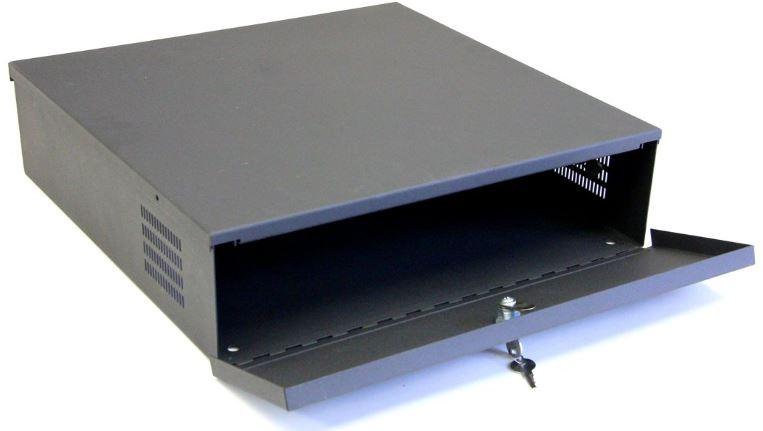 "Kenuco Small Heavy Duty 16 Gauge 18/"" x 18/"" x 5/"" DVR Security Lockbox with Fan"