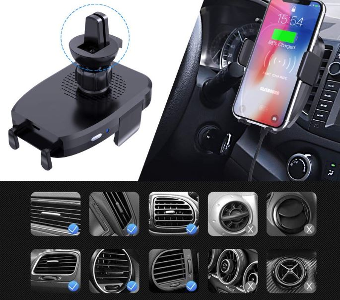 CLEEBOURG Wireless Car Charger Mount