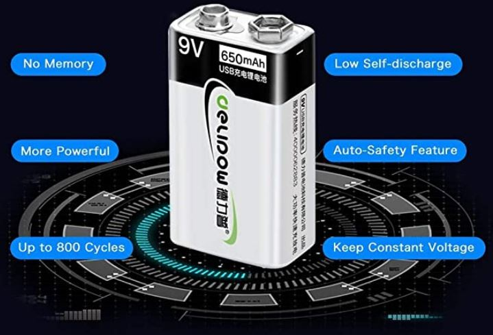 Delipow 9V Rechargeable Battery Pack