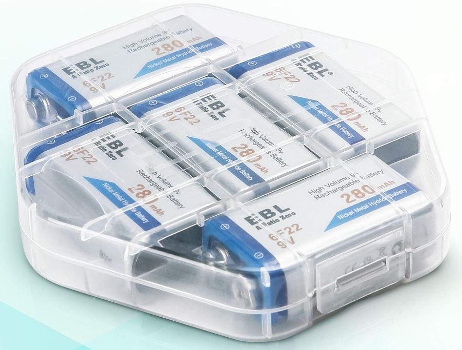 EBL 9v 5-Pack Batteries with Charger