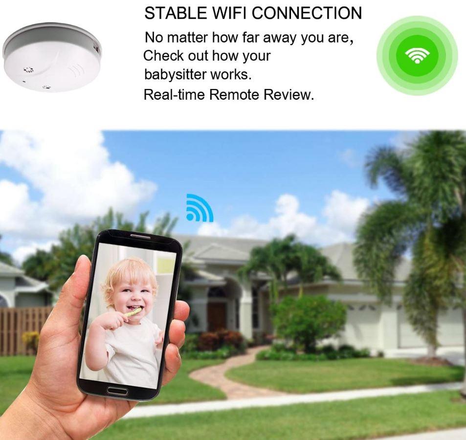 Sunsome Upgrade WiFi Hidden Spy Camera Smoke Detector