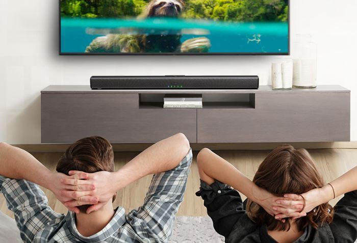 enjoying tv and soundbar