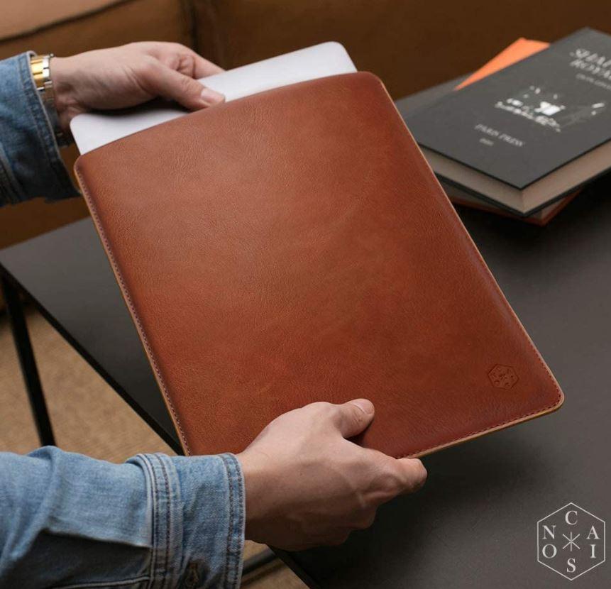 CAISON Genuine Leather Laptop Sleeve