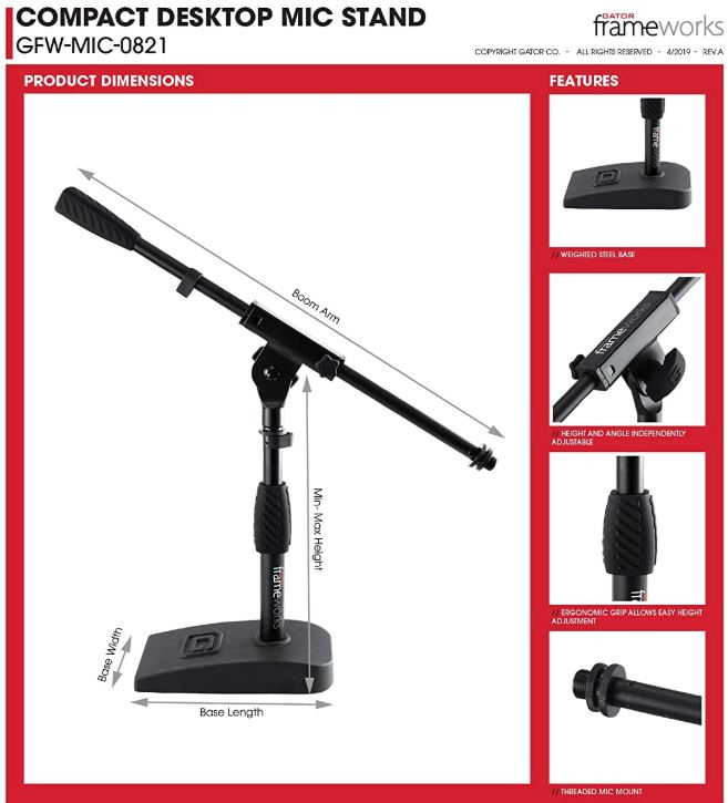 Gator Frameworks Short Weighted Base Microphone Stand