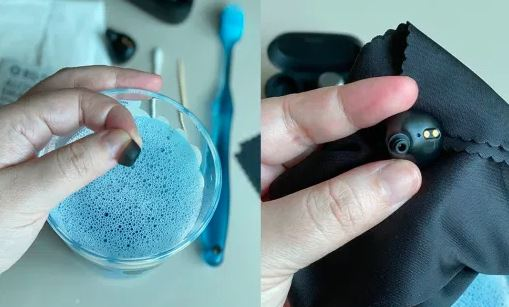 cleaning earbuds with soap and water