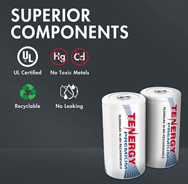 Tenergy Premium Rechargeable C D Batteries