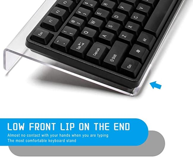 WIWAPLEX Clear Acrylic Tilted Keyboard Stand